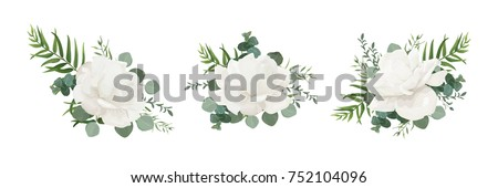 vector floral bouquet set of