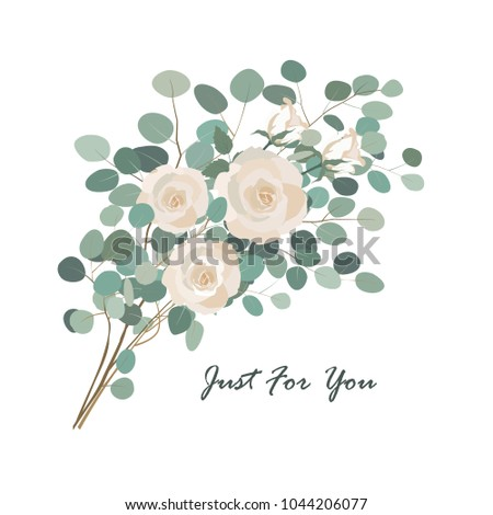 Vector floral bouquet with rose flower and eucalyptus branch greenery. Vector design element isolatedon white.