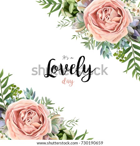 Vector floral card frame bouquet design with garden pink peach lavender Rose wax flower Eucalyptus branch green fern palm leaves succulent berry illustration Watercolor designer corner border template