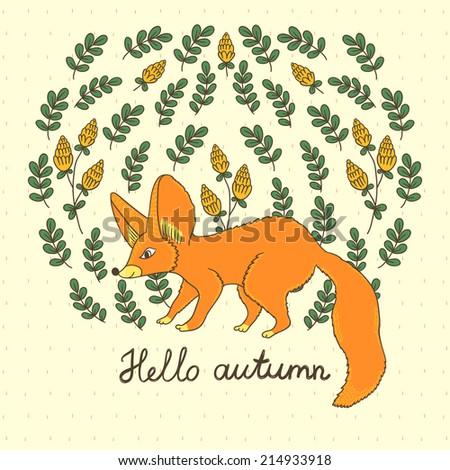 Hello Autumn Drawing Fox And Text Hello Autumn