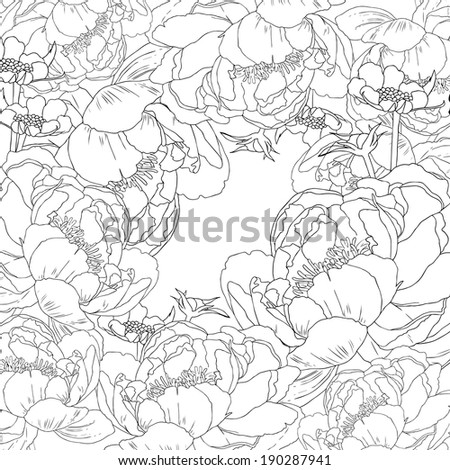 Vector floral cards with peony flower and bud.