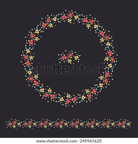 vector floral circle ornament and border set