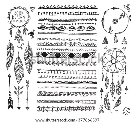 vector floral decor set, collection of hand drawn doodle boho style dividers, borders, arrows design elements, dream catchers. Isolated. May be used for wedding invitations, birthday cards, banners