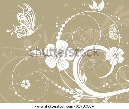 vector floral decorative abstract background with butterfly