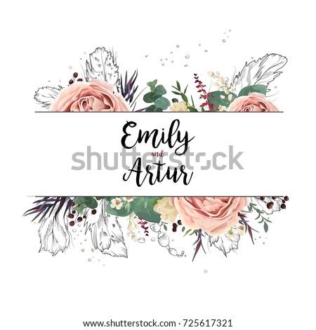 Lavender vector wedding invite download free vector art stock vector floral design card boho art wedding watercolor invitation card design floral garden pink lavender stopboris Gallery