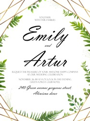 Vector floral design card. Green fern forest leaves herb plant greenery mix. Natural botanical Greeting wedding invitation, invite template. Geometrical polyhedron, golden Frame border with copy space