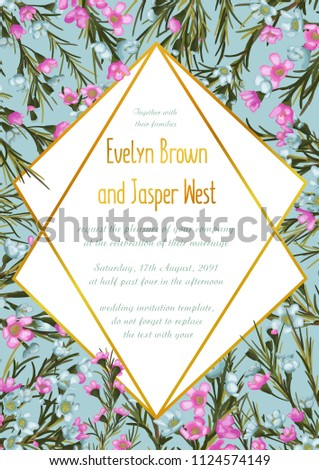 Vector floral design card with watercolor blue and pink wax flowers. Natural botanical Greeting wedding invitation invite. Geometrical rhombus golden Frame border & copy space