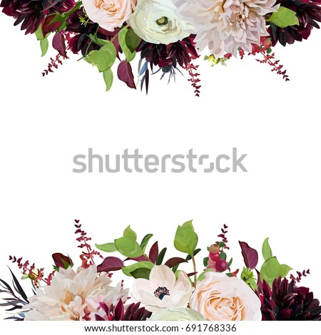 Vector floral design square card design pink rose burgundy dahlia vector floral design square card design pink rose burgundy dahlia flowers anemone red flower and green garden leaves wedding trendy vector invite card stopboris Image collections