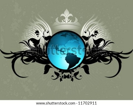 Vector floral Earth background