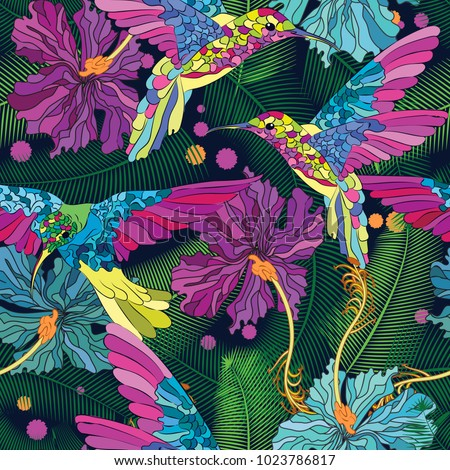 Vector floral ethnic seamless pattern in doodle style with flowers , leaves and birds . Gentle, spring/summer floral background.