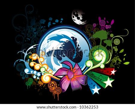 vector floral fantasy illustration - stock vector