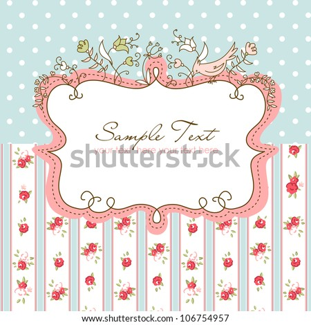 vector floral frame with a bird