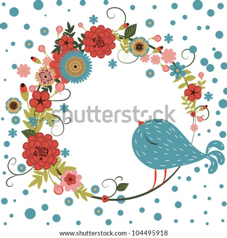 Vector floral frame with bird