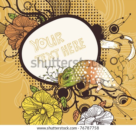 vector floral frame with blooming flowers and a colorful chameleon on an abstract background