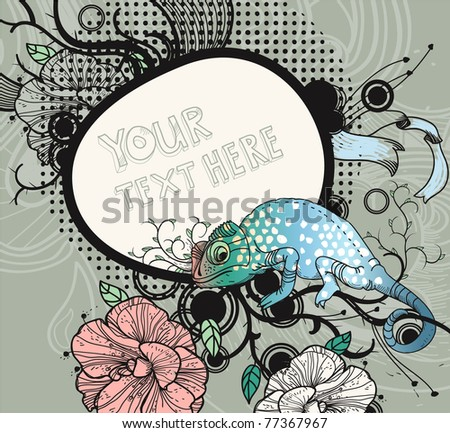 Vector Floral Frame With Blooming Flowers And A Colorful Lizard On An Abstract Background