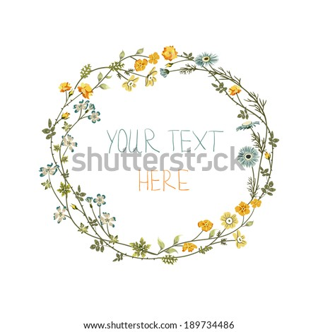 vector floral frame with yellow