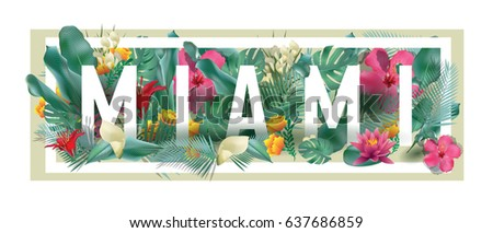 vector floral framed typographic MIAMI city artwork