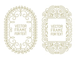 Vector floral frames with copy space for text in trendy mono line style - art deco monogram design element