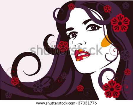 vector floral girl