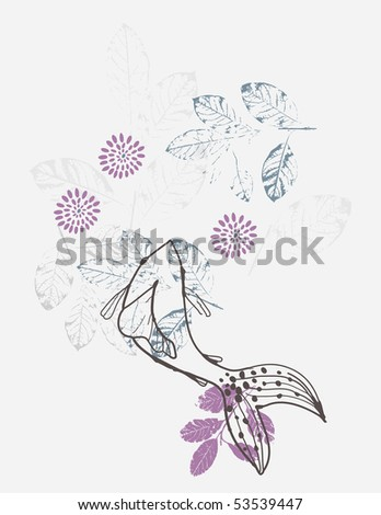 stock vector Vector floral graphic featuring a koi fish