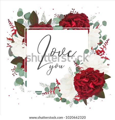 Vector floral greeting card design with red and white garden rose flowers, seeded eucalyptus branches, leaves, amaranthus, silver fern bouquet frame. Elegant cute art template with love you text.