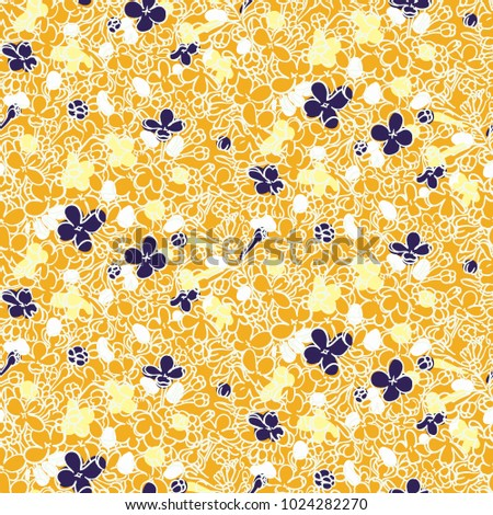 Vector floral grunge pattern in baby yellow color. Modern print with small hand drawn ditsy flowers on white background. Seamless bohemian texture in boho chic style, very girly and feminine