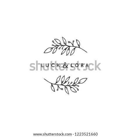 Vector floral hand drawn logo template in elegant and minimal style. Branch with leaves and berries. Black on white illustration. For badges, labels, logotypes and branding business identity.
