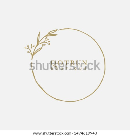Vector floral hand drawn logo template in elegant and minimal style with gold color on grey background illustration. Circle frames logos. For badges, labels, logotypes and branding business identity.