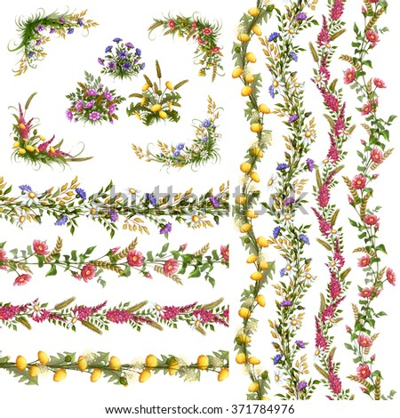 Stock Photo Vector floral horizontal and vertical pattern and Pattern Brushes