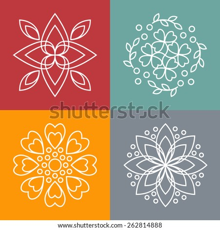 vector floral icons and logo