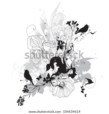 Vector floral illustration black and white