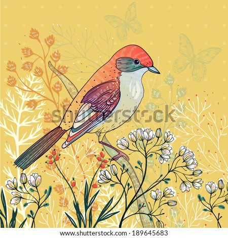 vector floral illustration of a colorful bird and blooming herbs