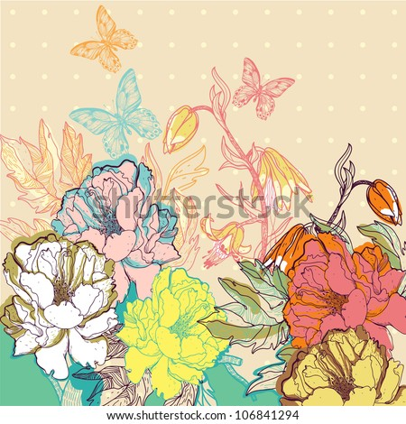 vector floral illustration of colorful summer flowers and butterflies - stock vector