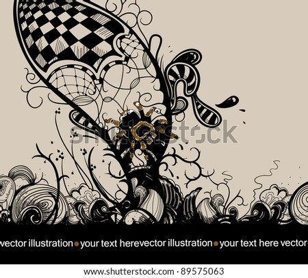 vector floral illustration with a spider and abstract plants