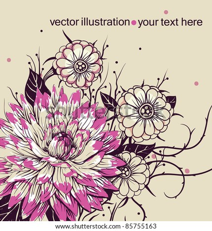 vector floral illustration with  blooming flowers