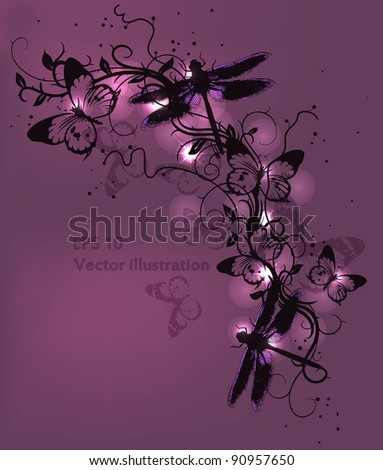 vector floral illustration with flying butterflies. eps10 - stock vector