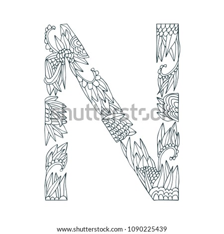 vector floral letter made from