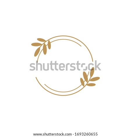 Vector floral logo template in elegant and minimal style with gold color on grey background illustration. Circle frames logos. For badges, labels, logotypes and branding business identity.