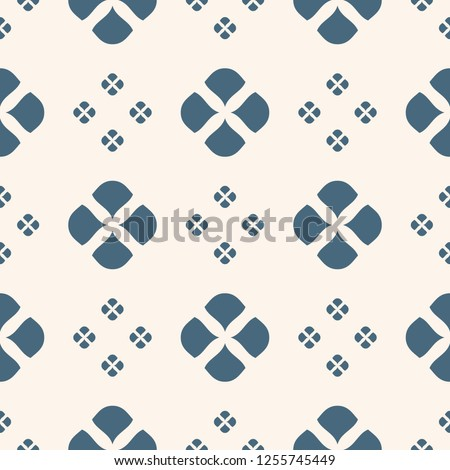 Vector floral minimalist seamless pattern. Deep blue and beige color. Abstract geometric background with simple flowers, petals, leaves. Minimal ornament texture. Repeat design for decor, wallpapers