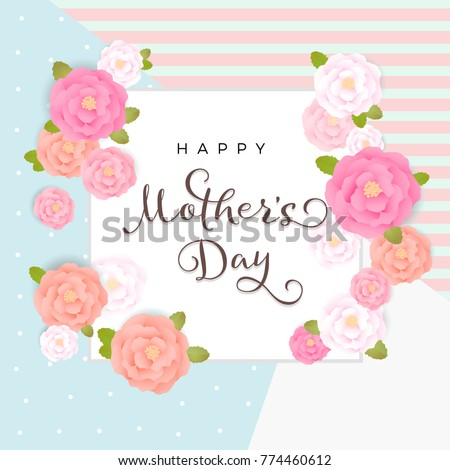 Vector Floral Mother's Day Poster, 3D Flowers and Frame, Peony Graphics, Pastel Pink and Coral Gradient Background, Greeting Card for mom #774460612