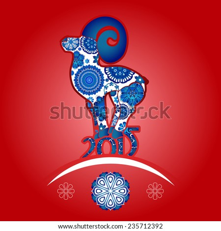Vector floral ornament Oriental horoscope Year of the Goat red background