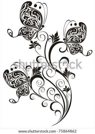 stock vector : vector floral ornament with butterfly, element for