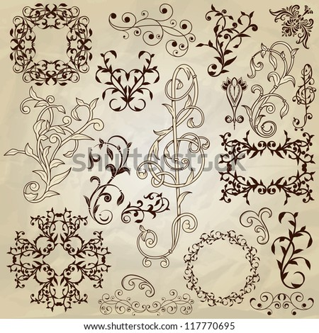 vector  floral pattern design elements on crumpled paper texture, fully editable eps 10 file #117770695
