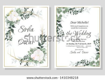 Vector floral pattern for wedding invitations. Orchid flowers, gold frame, green plants, leaves. All elements are isolated.