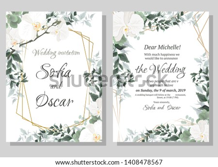 Vector floral pattern for wedding invitations. Orchid flowers, polygonal gold frame, green plants, leaves. All elements are isolated. #1408478567