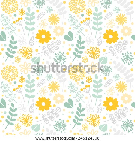 stock-vector-vector-floral-pattern-in-doodle-style-with-flowers-and-leaves-gentle-spring-floral-background