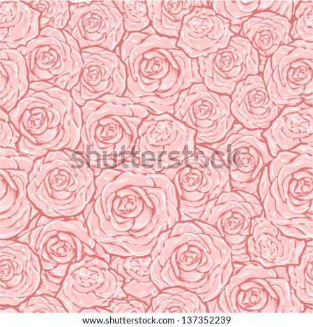Vector - floral pattern (seamless with roses)