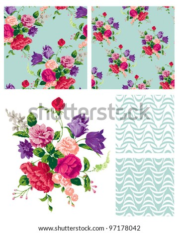 Vector Floral Repeat Patterns.  Use to print onto fabric or create stylish backgrounds for interior projects.