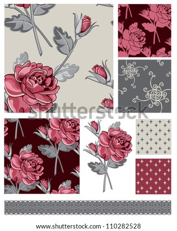 Vector Floral Rose Seamless Patterns and Icon.  Use to create digital paper for craft projects.