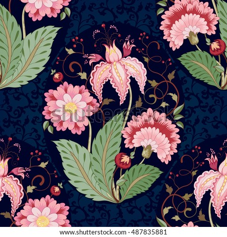 Vector floral seamless background. Curved branch with fantastic flowers, leaves, tendrils and berries on dark backdrop. The motives of the paintings of ancient Indian fabrics. Tree of Life collection.